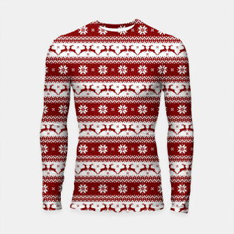 Thumbnail image of Dark Christmas Candy Apple Red Nordic Reindeer Stripe Longsleeve rashguard , Live Heroes