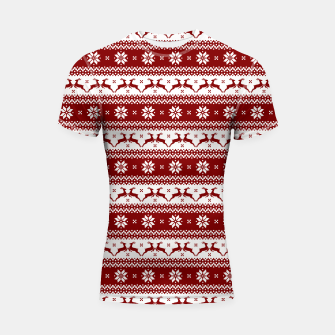 Thumbnail image of Dark Christmas Candy Apple Red Nordic Reindeer Stripe Shortsleeve rashguard, Live Heroes