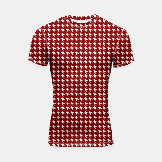 Thumbnail image of Dark Christmas Candy Apple Red Houndstooth Check Shortsleeve rashguard, Live Heroes