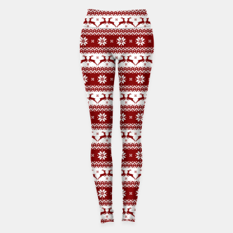 Thumbnail image of Dark Christmas Candy Apple Red Nordic Reindeer Stripe Leggings, Live Heroes