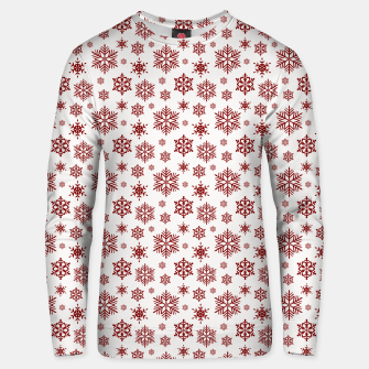 Thumbnail image of Large Dark Christmas Candy Apple Red Snowflakes on White Unisex sweater, Live Heroes