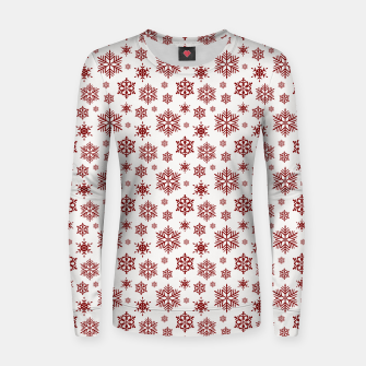 Thumbnail image of Large Dark Christmas Candy Apple Red Snowflakes on White Women sweater, Live Heroes