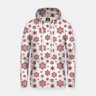 Thumbnail image of Large Dark Christmas Candy Apple Red Snowflakes on White Hoodie, Live Heroes