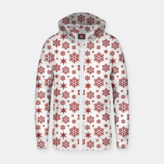 Thumbnail image of Large Dark Christmas Candy Apple Red Snowflakes on White Zip up hoodie, Live Heroes