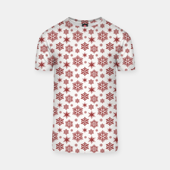Imagen en miniatura de Large Dark Christmas Candy Apple Red Snowflakes on White T-shirt, Live Heroes