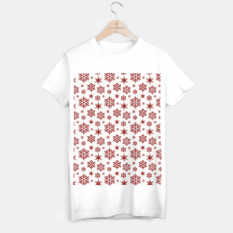 Thumbnail image of Large Dark Christmas Candy Apple Red Snowflakes on White T-shirt regular, Live Heroes