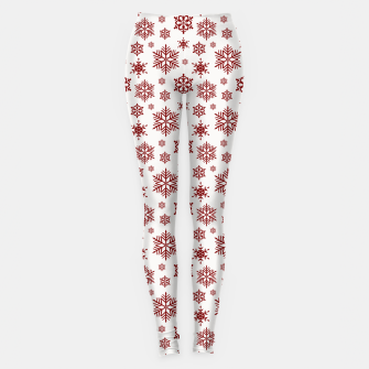 Thumbnail image of Large Dark Christmas Candy Apple Red Snowflakes on White Leggings, Live Heroes