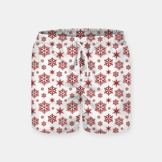 Thumbnail image of Large Dark Christmas Candy Apple Red Snowflakes on White Swim Shorts, Live Heroes