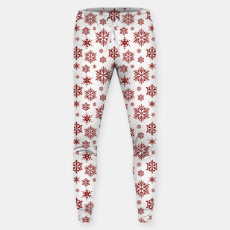 Thumbnail image of Large Dark Christmas Candy Apple Red Snowflakes on White Sweatpants, Live Heroes