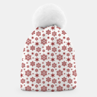 Thumbnail image of Large Dark Christmas Candy Apple Red Snowflakes on White Beanie, Live Heroes