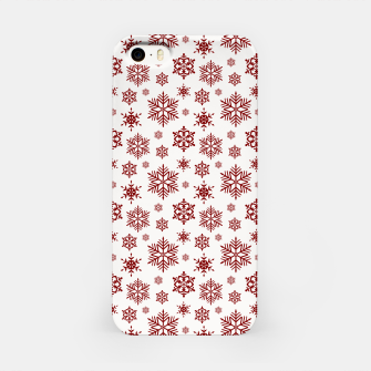 Thumbnail image of Large Dark Christmas Candy Apple Red Snowflakes on White iPhone Case, Live Heroes