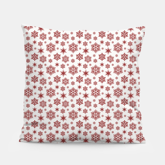 Thumbnail image of Large Dark Christmas Candy Apple Red Snowflakes on White Pillow, Live Heroes