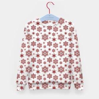 Thumbnail image of Large Dark Christmas Candy Apple Red Snowflakes on White Kid's sweater, Live Heroes
