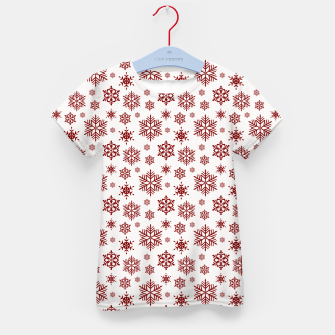 Thumbnail image of Large Dark Christmas Candy Apple Red Snowflakes on White Kid's t-shirt, Live Heroes