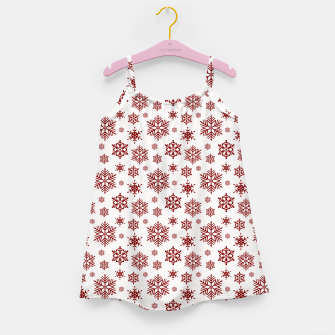 Thumbnail image of Large Dark Christmas Candy Apple Red Snowflakes on White Girl's dress, Live Heroes