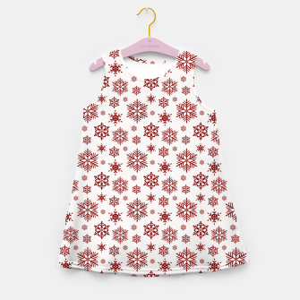 Thumbnail image of Large Dark Christmas Candy Apple Red Snowflakes on White Girl's summer dress, Live Heroes