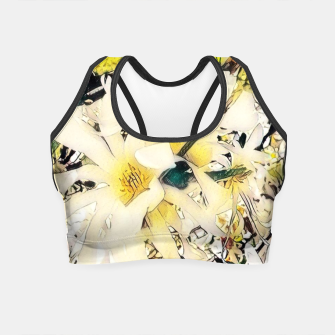 Thumbnail image of white magnolia Crop Top, Live Heroes