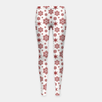 Thumbnail image of Large Dark Christmas Candy Apple Red Snowflakes on White Girl's leggings, Live Heroes
