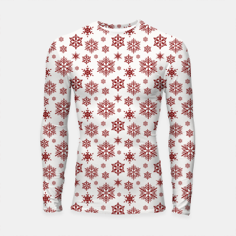 Imagen en miniatura de Large Dark Christmas Candy Apple Red Snowflakes on White Longsleeve rashguard , Live Heroes