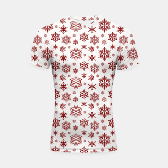 Imagen en miniatura de Large Dark Christmas Candy Apple Red Snowflakes on White Shortsleeve rashguard, Live Heroes
