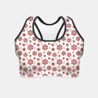 Thumbnail image of Large Dark Christmas Candy Apple Red Snowflakes on White Crop Top, Live Heroes