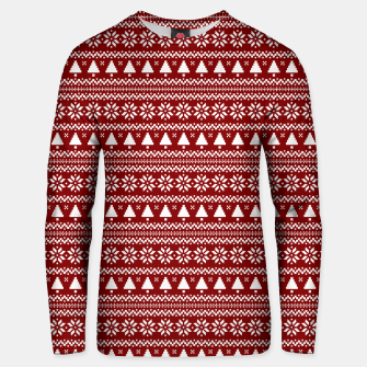 Thumbnail image of Dark Christmas Candy Apple Red Nordic Trees Stripe in White Unisex sweater, Live Heroes
