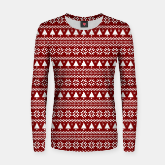 Thumbnail image of Dark Christmas Candy Apple Red Nordic Trees Stripe in White Women sweater, Live Heroes