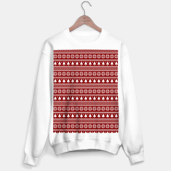 Thumbnail image of Dark Christmas Candy Apple Red Nordic Trees Stripe in White Sweater regular, Live Heroes