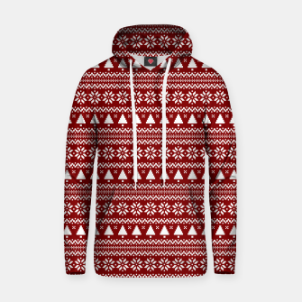 Thumbnail image of Dark Christmas Candy Apple Red Nordic Trees Stripe in White Hoodie, Live Heroes