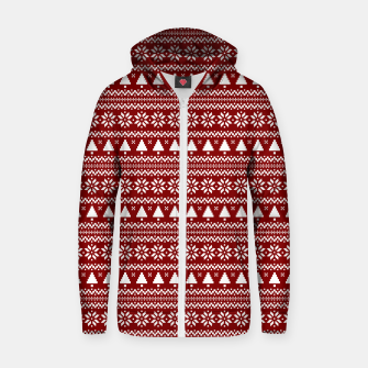Thumbnail image of Dark Christmas Candy Apple Red Nordic Trees Stripe in White Zip up hoodie, Live Heroes