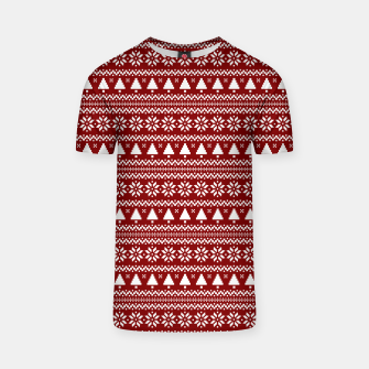 Thumbnail image of Dark Christmas Candy Apple Red Nordic Trees Stripe in White T-shirt, Live Heroes