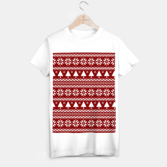 Thumbnail image of Dark Christmas Candy Apple Red Nordic Trees Stripe in White T-shirt regular, Live Heroes