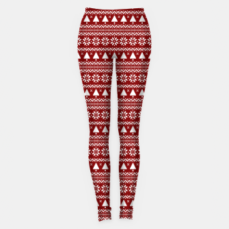 Thumbnail image of Dark Christmas Candy Apple Red Nordic Trees Stripe in White Leggings, Live Heroes