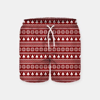 Thumbnail image of Dark Christmas Candy Apple Red Nordic Trees Stripe in White Swim Shorts, Live Heroes
