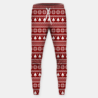Thumbnail image of Dark Christmas Candy Apple Red Nordic Trees Stripe in White Sweatpants, Live Heroes