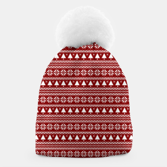 Thumbnail image of Dark Christmas Candy Apple Red Nordic Trees Stripe in White Beanie, Live Heroes