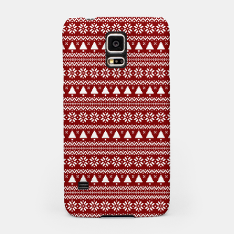 Thumbnail image of Dark Christmas Candy Apple Red Nordic Trees Stripe in White Samsung Case, Live Heroes