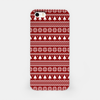 Thumbnail image of Dark Christmas Candy Apple Red Nordic Trees Stripe in White iPhone Case, Live Heroes