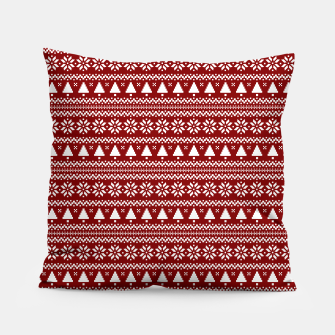 Thumbnail image of Dark Christmas Candy Apple Red Nordic Trees Stripe in White Pillow, Live Heroes