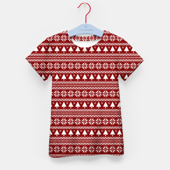 Thumbnail image of Dark Christmas Candy Apple Red Nordic Trees Stripe in White Kid's t-shirt, Live Heroes