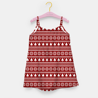 Thumbnail image of Dark Christmas Candy Apple Red Nordic Trees Stripe in White Girl's dress, Live Heroes