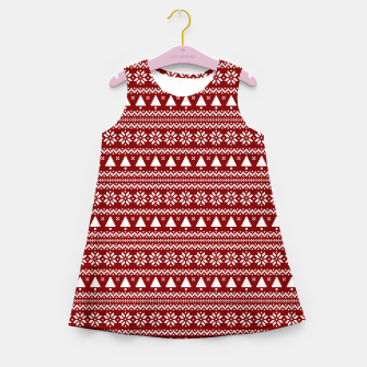 Thumbnail image of Dark Christmas Candy Apple Red Nordic Trees Stripe in White Girl's summer dress, Live Heroes