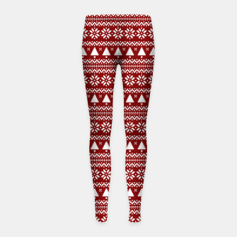 Thumbnail image of Dark Christmas Candy Apple Red Nordic Trees Stripe in White Girl's leggings, Live Heroes