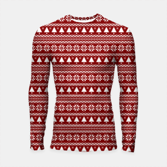Thumbnail image of Dark Christmas Candy Apple Red Nordic Trees Stripe in White Longsleeve rashguard , Live Heroes