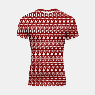 Thumbnail image of Dark Christmas Candy Apple Red Nordic Trees Stripe in White Shortsleeve rashguard, Live Heroes