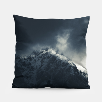 Miniature de image de Darkness and storm clouds over mountains Pillow, Live Heroes