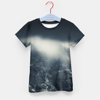 Thumbnail image of Darkness and white clouds over the mountains Kid's t-shirt, Live Heroes