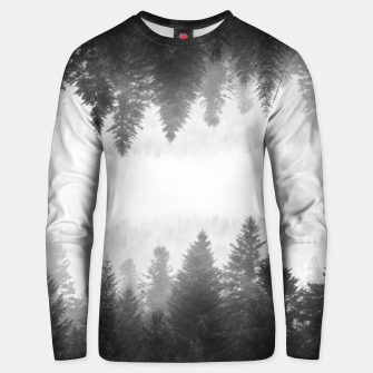 Thumbnail image of Black and white foggy mirrored forest Unisex sweater, Live Heroes