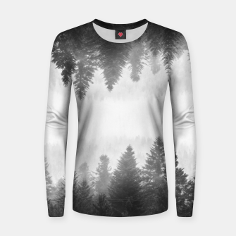 Thumbnail image of Black and white foggy mirrored forest Women sweater, Live Heroes