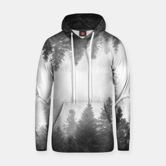 Thumbnail image of Black and white foggy mirrored forest Hoodie, Live Heroes